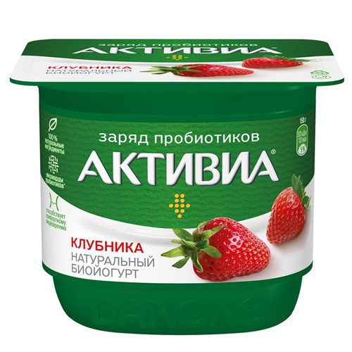 Йогурт Активиа Клубника 2,8-2,9%, 150 г