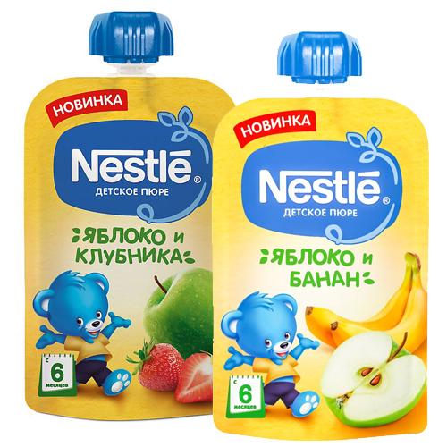 Пюре Nestle, яблоко-клубн.,  яблоко-банан, 90 г, цена за 1 при покупке 2 одновр.